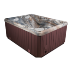 Serenity 4000 Hot Tub showing a brown cabinet & brownish interior.