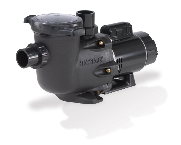 Black swimming pool pump, looking all cool with a round lid and quick connect unions