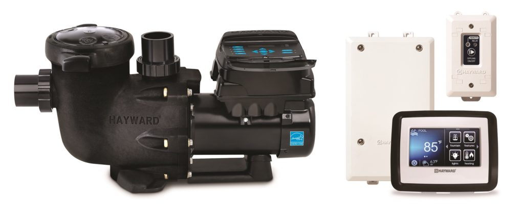 Ultimate Energy Saving Pump, black variable speed pump with a white control box, a touch screen display and a wireless transmitter.